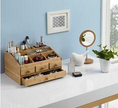 Natürliche Rustikal Mahagoni Holz SchreibtischOrganizer Office - Cosmetic makeup organizer wood countertop organizer by lessandmore