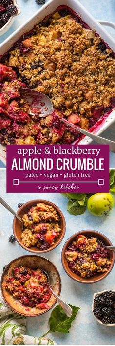 Gluten free apple and blackberry apple crumble. It's paleo, vegan and gluten free! Make this for a delicious breakfast tor brunch treat, top it with yogurt.