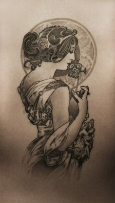 mucha tattoo... if i were to get another artist's work tattooed on my body, it would probably be mucha or klimt. love nouveau!