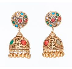 SKU-RPSE06665-Gorgeous gold patra earring made with semi precious stones