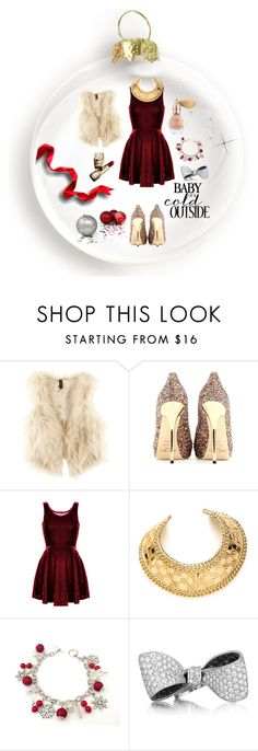 """Christmastime to me"" by nordicstyle ❤ liked on Polyvore featuring H&M, Jimmy Choo, Balmain, Guerlain and Lise Watier"
