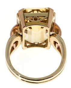 Retro Yellow Citrine Pink Green Gold Ring For Sale 2