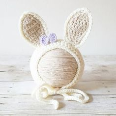 Crochet Baby Bunny Rabbit Bow Bonnet Hat Beanie Infant Newborn Baby Easter Spring Handmade Photography Photo Prop Baby Shower Gift Present