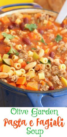 10 Most Misleading Foods That We Imagined Were Being Nutritious! This Easy, Pasta E Fagioli Soup Is Hearty And Comforting And Tastes So Much Better That The Restaurant. It's Economical, Too. Chili Recipes, Copycat Recipes, Pasta Recipes, Soup Recipes, Dinner Recipes, Cooking Recipes, Healthy Recipes, Spaghetti Recipes, Crockpot Recipes