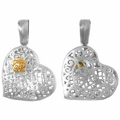 Amazon.com: 925 Solid Sterling Silver Trend Necklace Charm Pendant, Filigree Heart With 14K Rose G: Million Charms: Jewelry