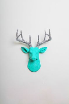 Deer Figurine Mount - The MINI Chloe - Turquoise W/ Silver Glitter Antlers Resin Deer Head- Stag Resin White Faux Taxidermy - Wall Hanging