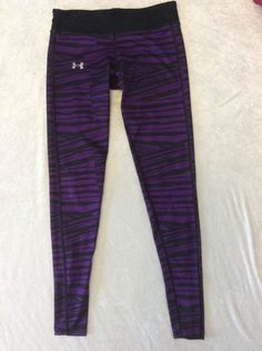 Under Armour Small Leggings Fitted Coldgear Purple Zebra Stripe Run Fitness Pant #UnderArmour #PantsTightsLeggings