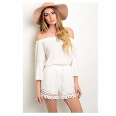 NWOT Off The Shoulder Romper, Medium New without tag; size Medium; slightly sheer fabric.  Top section is unlined; bottom section is fully lined.  She'll:  100% rayon.  Lining:  100% polyester. Other