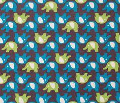 1 YD - Blue and Green Elephants on Brown Kokka Trefle Kawaii Japanese Fabric