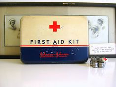 Vintage First Aid Kit Johnson and Johnson Medical Tin on Etsy, $18.50