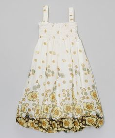Another great find on #zulily! White & Yellow Flowers Shirred Dress - Infant, Toddler & Girls #zulilyfinds