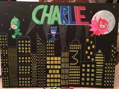 PJ Masks Birthday chalk board backdrop. 3rd birthday backdrop with city scape and PJ Masks...