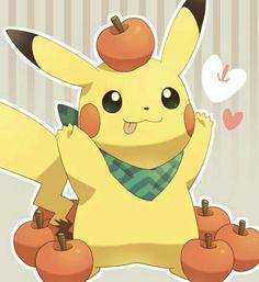 Pikachu, cute, apples, hearts; Pokémon