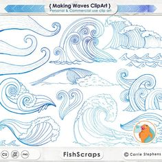 SALE White Water Wave ClipArt Ocean Surf's Up Clip by FishScraps
