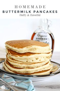 Buttermilk Pancakes Recipe - Homemade Buttermilk Pancakes from scratch. How to make Fluffy Pancakes Brunch Recipes, Dessert Recipes, Cod Recipes, Potato Recipes, Bread Recipes, Breakfast Recipes, Pancake Recipes, Breakfast Bites, Kale Recipes