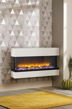 Electric Fireplace Heater, Wall Mount Electric Fireplace, Modern Fireplace, Electric Fireplaces, Luxury Bedroom Sets, Luxurious Bedrooms, Luxury Bedding, Modern Bedding