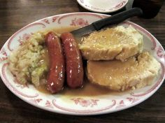 Polish sausage with sweet & sour cabbage and knedlíky (Czech dumplings) at the Bohemian Cafe in Omaha. Sweet And Sour Kielbasa, Sweet And Sour Cabbage, Kielbasa And Cabbage, Food Baby, Baby Food Recipes, Snack Recipes, Polish Food, Polish Recipes, Czech Recipes