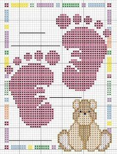 Bébé - baby - pieds ours - point de croix - cross stitch - Blog : http://broderiemimie44.canalblog.com/