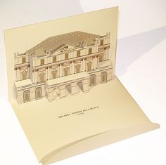 pop-up kirigami postcard of Teatro alla Scala - Milan (Italy) As Roma, Paper Architecture, Message Card, Pop Up Cards, Kirigami, Milan Italy, Popup, Monuments, Place Card Holders
