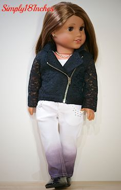 Lace Moto Jacket and Ombre Jeans.  New ensemble coming soon to www.etsy.com/shop/Simply18Inches