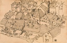 Egon Schiele (Tulln 1890 - 1918 Wien) Houses in Krumau, 1917 black chalk on paper; × cm signed and dated on the lower right: Egon / Schiele / 1917 Gustav Klimt, Egon Schiele Landscape, Egon Schiele Zeichnungen, Egon Schiele Drawings, Monochromatic Art, Building Drawing, Vienna Secession, House Sketch, Urban Sketching