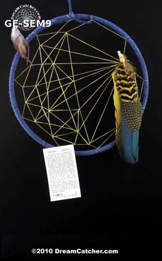 These beautiful dream catchers have a 9 inch hoop and are the creation of  Tom Gray Elk Rael.  Each dream catcher is one of a kind and the feathers are gathered from birds that are given to Tom or from birds that he raises on his farm.  Tom calls this the Seminole weave dream catcher.