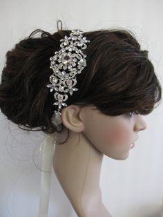 Bridal Headband, , Rhinestone Headband, Wedding Headpiece, Fascinator, Wedding Hair Accessory, Ribbon Bridal Headband on Etsy, $55.00