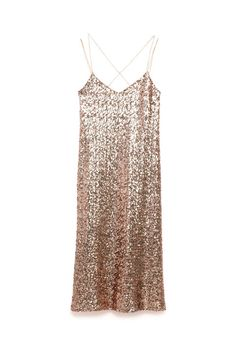 15 New Year's Eve Dresses for Every Budget and Party Golden Sheath! A strappy sheath that won't feel too heavy when you're getting down on a crowded dance floor. Long Sequined Dress, $70; zara.com.