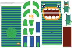 Hungry Monster Laundry Bag: Green/Blue by sammyk, click to purchase fabric
