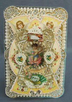 WOW! Antique Whitney Paper Lace Valentine Card Fold Out Cherubs Angels Die Cuts