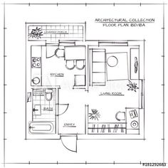 Model House Plan, Tiny House Plans, House Floor Plans, Architectural Floor Plans, Interior Design Sketches, Porch Entry, Photo Store, Small Space Living, Living Spaces