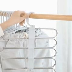 (Great Promotion Today) Magic Hangers Closet Space Saving ( Plastic and Metal ) – Pants Hanger İdeas Pants Rack, Trouser Hangers, Hanging Pants, Clothes Drying Racks, Bedroom Closet Design, Space Saving Storage, Clothing Storage, Coat Hanger, Closet Space