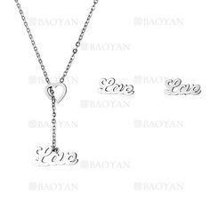 collar y aretes de love de plateado en acero inoxidable-SSNEG483492