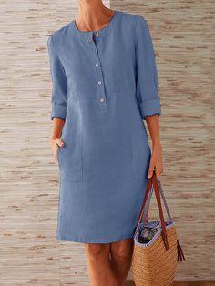 Buttoned Down Pockets Plus Size Dresses - JustFashionNow.com
