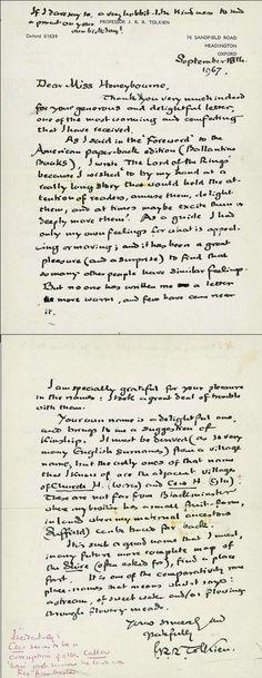 Handwritten response from J.R.R. Tolkien to a fan letter