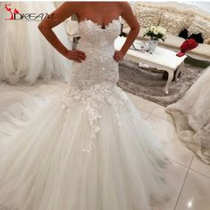 Find More Wedding Dresses Information about Romantic Mermaid Lace Wedding Dresses 2016 Princess Sweetheart Applique Tulle Court Train Bridal Gowns,High Quality dresses graduation,China gown crochet Suppliers, Cheap gowns graduation from Orenda Wedding Dress Factory on Aliexpress.com