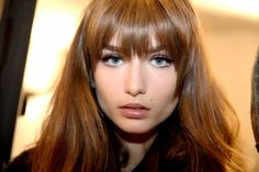 Love her Bangs!  Model Backstage Emillio Pucci Runway Show