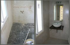before/after / tiled bathroom redone with micro cement . No need to remove the tiles Ideas Para, Tile Floor, Tiles, Bathtub, Flooring, Bathrooms, Ph, Home, Google