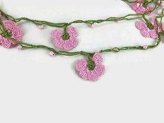Crochet Necklace Pink Oya Flowers Crochet Necklace by Nakkashe