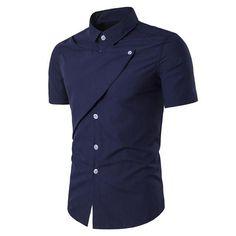 Brand New Fashion Mens Dress Shirts 2017 Summer Short Sleeve Turn-down Collar Slim Fit Solid Casual Tops Shirt
