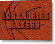 Lakers Metal Print featuring the photograph Los Angeles Lakers Leather Art by Joe Hamilton