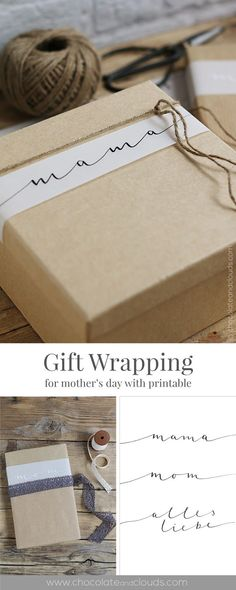 Simple gift wrap with hand lattering [Printable]- Einfache Geschenkverpackung mit Handlattering [Printable] Simple gift wrapping with handlatting [Printable] - Creative Gift Wrapping, Wrapping Ideas, Creative Gifts, Wrapping Presents, Xmas Presents, Printable Halloween, Halloween Cards, Christmas Gift Wrapping, Christmas Gifts