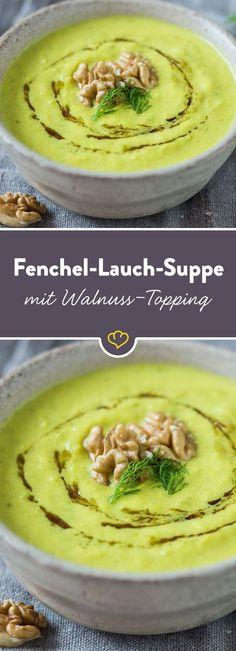 Fenchel, Lauch und Apfel vereinen sich zu einer süßlich-würzigen Suppe, die mit feinem Anis-Aroma und Kurkuma deine Geschmacksknospen kitzelt.