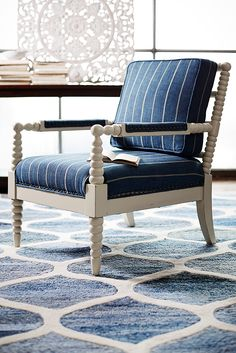 A spiced-up version of the centuries-old frame, Pier 1's Bobbin Chair features all the details that define the style: Hardwood frame, spindled arms and legs, deep comfortable cushions—and now, a fresh new finish in antique white. Plus, its hand-woven upholstery adds an oh-so-cool look.