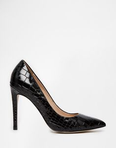 River Island | River Island Patent Croc Effect Court Shoes at ASOS