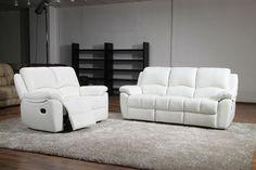 Weiß Leder Recliner Sofa Satz