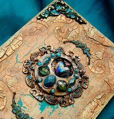 USE THIS TUTORIAL on all kinds of BOXES OR BOOKS, etc. to turn tem into TREASURED HEIRLOOMS! -   Nice treatment for a SCRAPEBOOK COVER!  Altered Book Box #recycle