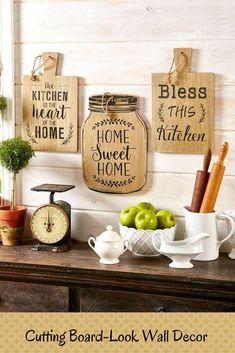 These are so cute and the mason jar one I just have to have | #ad #CuttingBoardLookWallDecor #RusticKitchen #FarmhouseKitchen