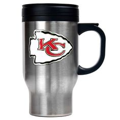 NFL Kansas City Chiefs 16oz Stainless Steel Travel Mug Primary Logo >>> Read more at the image link. (This is an affiliate link) #TravelMugs