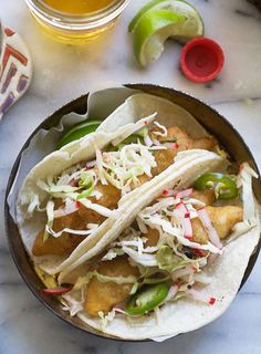 beer-battered fish tacos.